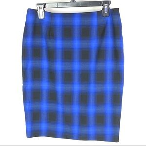 The Limited Sapphire Plaid Pencil Skirt 1200